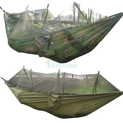 Portable Travel Camping Outdoor Hammock Hanging Nylon Bed + Mosquito Net