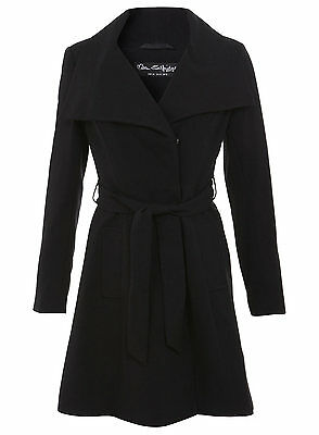 Miss Selfridge NEW Black Belted Wrap Coat Size 8 to 18
