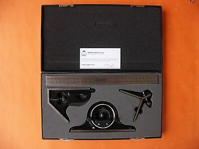 Combination Set Cast Iron Square Protractor Ctr Finder Moore & Wright Mw-521-01