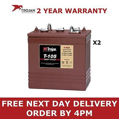 2x Trojan T-105 / T105 Deep Cycle Batteries 6V Vented Batteries