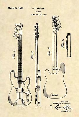 Official Fender PBASS Guitar Patent Art Print- Vintage 1953 Precision Bass 467