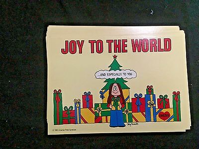 LOT 19 Cathy  Vintage Christmas Post Cards Guisewite 1982 Yellow Joy to World