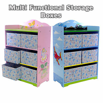 Childrens Multifunctional Toy Boxes Storage Bookcase Kids Furniture Organiser
