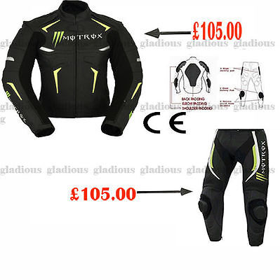 Monster Motorbike Motorcycle Motrox Racing Leather Jacket&trouser With Ce Armour