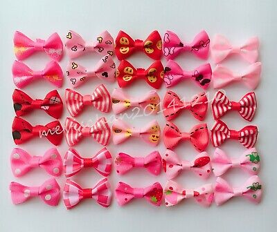 30pcs/lot Dog handmade Hairpins pink style Pet Bow Hair Clips Puppy cat Bowknot
