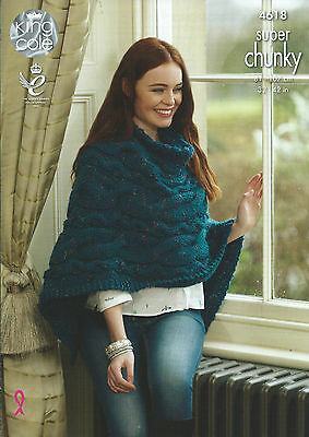 Knitting Pattern 4618, Ladies Sweater & Poncho In King Cole Super Chunky Yarn