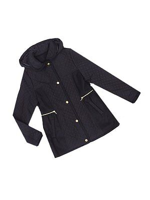 George Girls Black Stud Fasten Quilted Panel Lined Hooded Coat Ages 4-9