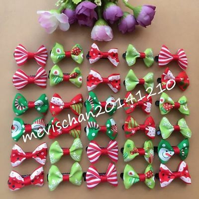 30pcs/lot Dog Hairpin Pet Bow Xmas Tie Hair Clip Puppy cat Bowknot barrette gift