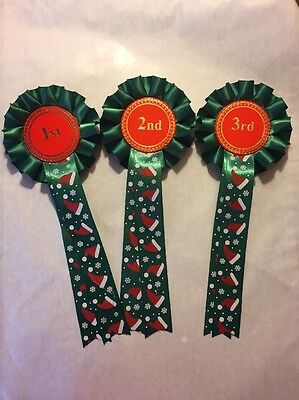 1 X 1st--3rd Christmas Themed Rosettes. Trophy Awards