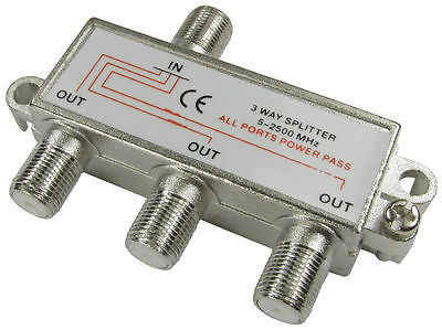 3- Way TV Aerial Satellite Coax F Splitter DC Power Pass (5-2400MHz)