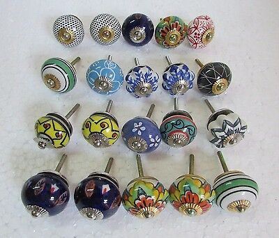 Lot of 20 Vintage style Multi Color CERAMIC Knobs Drawer / Door Handle Pulls