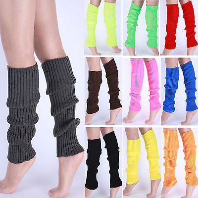 Ladies Girls Teen 80's Dance Plain Ribbed Leg Warmers Legwarmers 15 Colours UK