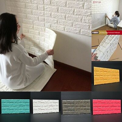 100Pcs 3D Foam Stone Brick Self-adhesive Wallpaper DIY Wall Sticker Panels Decal