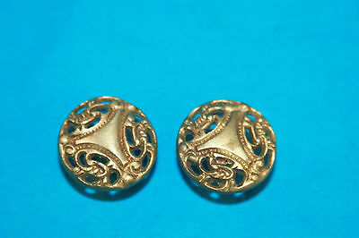 2 Vintage Brass Ornate Round Drawer Pulls