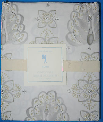 Pottery Barn Kids Cora Twin Duvet Cover Silver Gold White Gray Peacock New