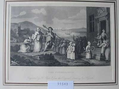 91543-Karikatur-Caricature-Hogarth-The Foundlings-Stahlstich-steel engraving