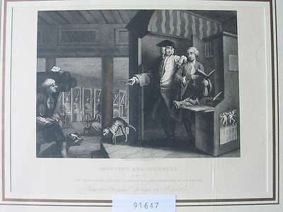 91647-Karikatur-Caricature-Hogarth-Industry and Idleness-Webstühle-Stahlstich