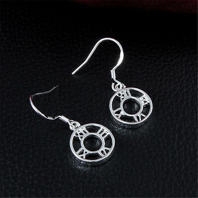 Roman Circle Earring Charm Silver Jewelry Women Sterling Wedding Christmas Gift