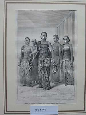 92177-Indonesien-Indonesia-Java-Femmes Tanz Dance-T Holzstich-Wood engraving