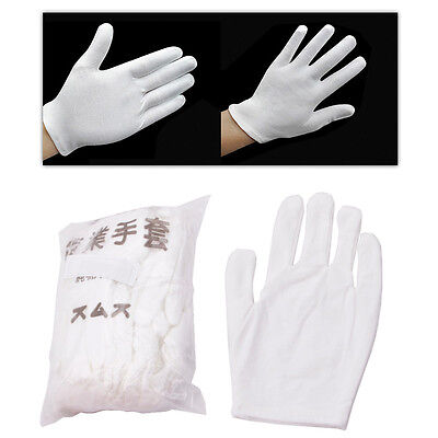12 Pairs Inspection Cotton Lisle Work Gloves Coin Jewelry Lightweight White New