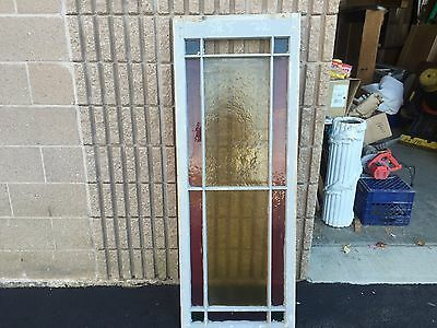 """Gorgeous antique c1880 Queen Anne STAIN glass transom window frame 58"""" X 22"""""""