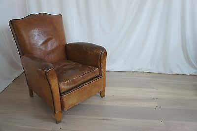 Vintage French Leather Mustache Club Chair