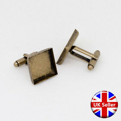 Antique Bronze Square Cufflink Setting Blanks Fits 16mm Cabochon [20 pieces]