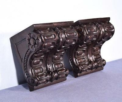 *Pair of Large Antique French Walnut Corbels/Brackets Carved Architectural