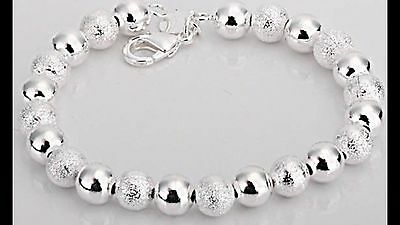"8"" Eight Inches 925 Sterling Silver  Bead Beaded Chain Bracelet - 29 Grams"
