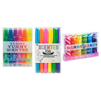 3 Sets of Fruity Scented Markers & Pens for Kids