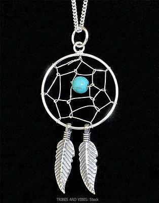 Dream Catcher Pendant Necklace Sterling Silver Turquoise Crystal Gem Jewellery