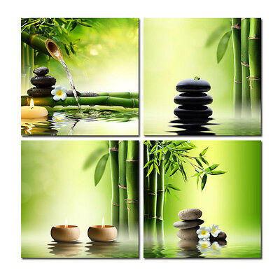 Canvas Print Painting Picture Home Decor Green Bamboo Zen Wall Art Poster Framed