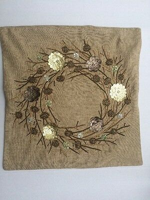 """Pottery Barn Neutral Wreath Embroidered Pillow Cover 20"""" Christmas Holiday"""