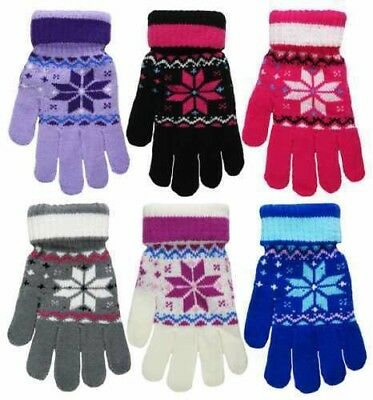 8f91ec78cb241 Ladies Ladys Female Womens Thermal Mittens Fair Isle Full Finger Glove  Gloves UK