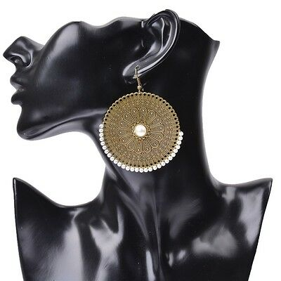 Big Bronze Disc Earrings Round Statement Party Drop Hoop Ethnic Boho Pearl Large