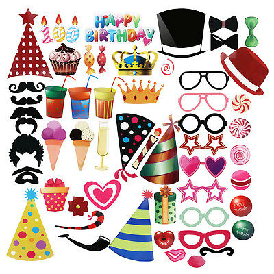 56pcs Birthday Party Photo Booth Props On A Sticks Mask Funny Hat Glasses Crown
