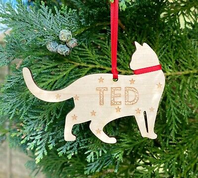 Personalised Cat Kitten Christmas 1st Xmas Decoration Wood Bauble Present Gifts