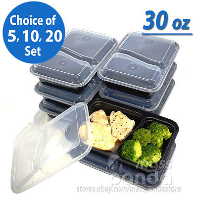 30oz Meal Prep 2 Compartment Food Containers with Lids, Reusable Microwavable