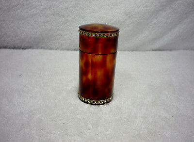 Rare Celluloid Rhinestone Dresser Trinket Box Vanity Jar Bakelite Brown Deco