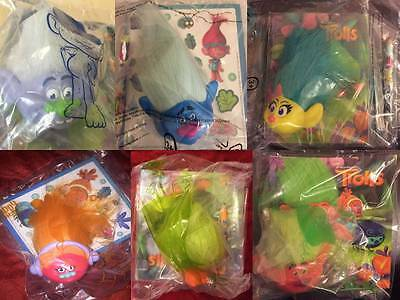 Mcdonalds Trolls Movie Character Figures New in Bag & Used 2016
