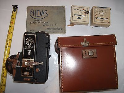 Vintage Midas Camera Projector  in Leather Case + Manual + Film Boxes