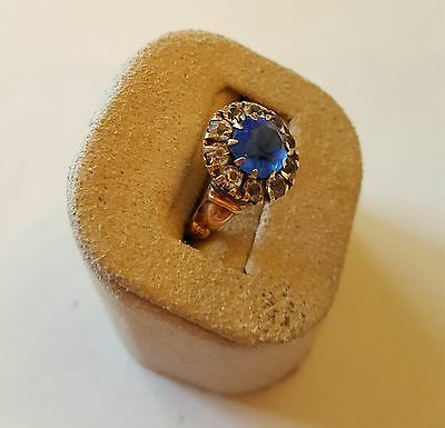 Victorian Estate 15k Rose Gold Blue & White Sapphire Cocktail Ring ~ Size 5.5