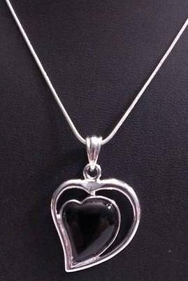 BEAUTIFUL Black Agate Stone Heart Pendant and silver chain  #P103