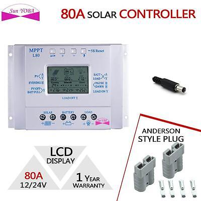 LCD 80A Solar Panel Charge Controller 12V/24V + 2x Anderson Style Plug 50AMP DA