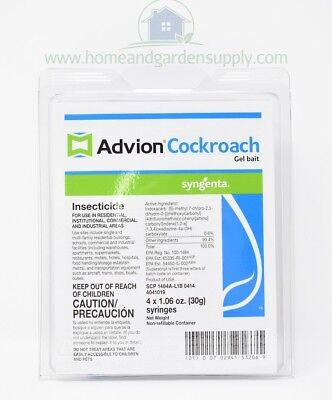 Advion Cockroach Gel Bait 1 Box (4 Tubes, 2Tips and 1Plunger) Roach Syngenta