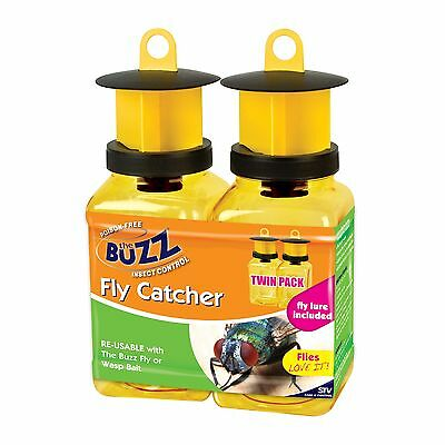 The Buzz FLY & WASP TRAP w/ Fly Attractant, Easy To Use, Works for 2-3 Weeks 2Pc