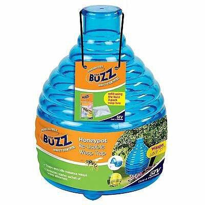 The Buzz Honeypot OUTDOOR WASP TRAP w/ Bait, Reusable, Easy to Clean and Refill