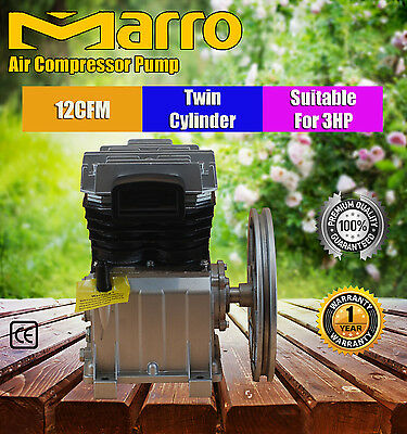 Marro Industrial Twin Cylinder Air Compressor Pump Suits For 3/5.5Hp 10/12/17Cfm