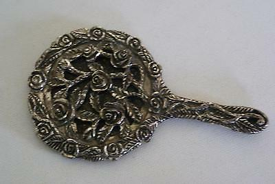 (ref165BQ) Small Ornate Silver Plated Hand Mirror