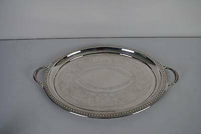 (ref165BR) Superb Large Top Quality Antique Silver Plated Twin Handled Tray